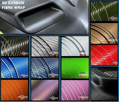 3D Carbon Fibre Wrap 30 x 20cm - 12 Colours - Bubble Free Car Vinyl Film Foile