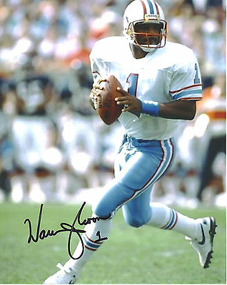Warren Moon Houston Oilers Autographed Action 8X10 Hall Of Fame