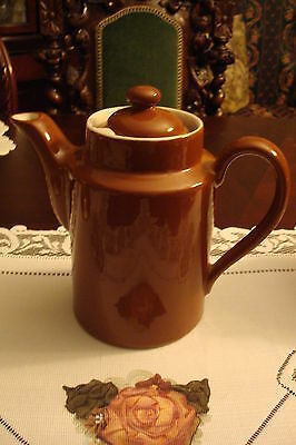 """Hall China coffee pot, brown, 7 1/2"""" tall by 7 1/2"""" spout to handle"""