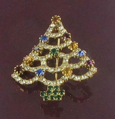 Wide curvy dog tooth set RHINESTONE CHRISTMAS TREE pin New never worn Xmas