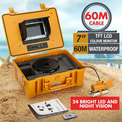 "60m Underwater Video Fishing Camera Fish Finder 7"" TFT LCD 24 LED Night Vision"
