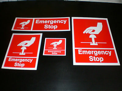 EMERGENCY STOP sign Plastic , Sticker & Holed ALL SIZES Free Post red button