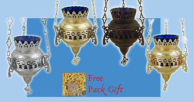 Orthodox Vigil Lamp Peacock Design +FREE Wicks Ikonenampel Ewiges Licht Kandilo