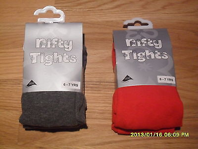 Girls School Tights With Lycra Red Grey Winter Warm  From 4 To 13 Years New