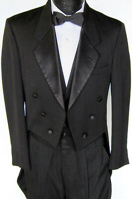 Black Christian Dior Six Button Tuxedo Tailcoat Package Wedding Prom Theater 39L