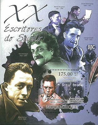 Mozambique 2011 Stamp, MOZ11326B Writers of XX Century, Famous People S/S