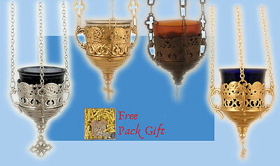 Orthodox Hanging Vigil Lamp Lace Design +FREE Wicks Ikonenampel Kantili Kandilo