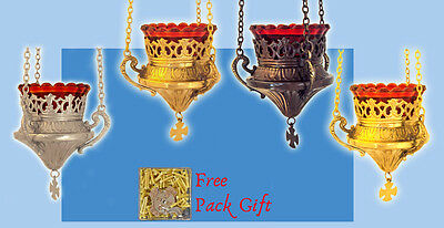 Vigil Hanging Metal Oil Candle Orthodox Inlined Carving Small + FREE Wicks