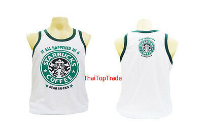 STARBUCKS Men's Sport Running Boxing Vest Singlet Tank Tops T-Shirt Size L