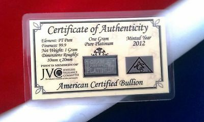 ACB PLATINUM 1 GRAM PURE PT BULLION MINTED BAR 99.9 FINE with CERTIFICATE +