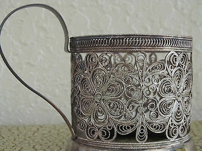 Russian ~ Silver Plate ~ Filigree Cup Holder ~ Marked