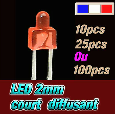 336R# LED 2mm court rouge diffusant - dispo 10, 25 ou 100pcs RED diffused - rot