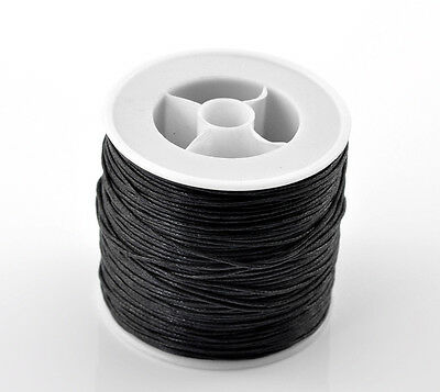 """80M(3149-5/8"""") Black Waxed HOT Cotton Cord 0.5mm Dia. for Bracelet/ Necklace"""