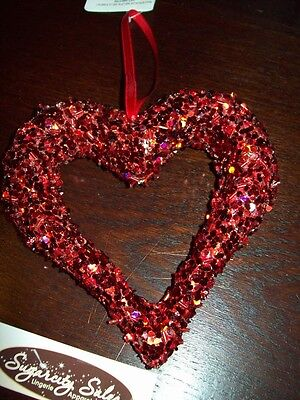 "New Valentine Large 5"" Open Heart Ornament Red Sequins & Beads Hanging Tree"