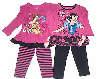 Girls Top And Leggings Set Outfit 2 Piece Set Disney Princess 2 3 & 4 Years