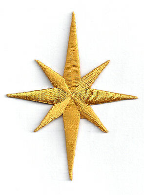 """2 1/2""""H - Christmas Nativity Star-Liturgical-Vestment-Embroidered Iron On Patch"""