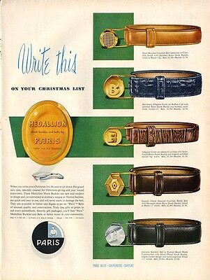 1954 Paris Medallion Belts and Buckles PRINT AD