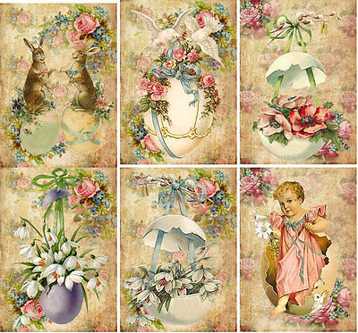 vintage easter 8 chicks eggs pink antique pictures note cards tag