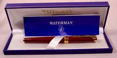 Waterman   L'etalon Burgundy Red & Gold Trim  Rollerball Pen In Box @