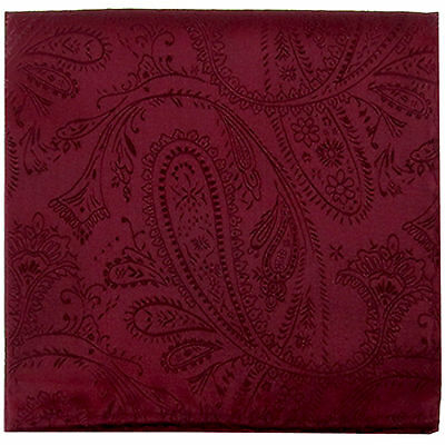 New Men's Polyester Woven pocket square hankie only burgundy paisley wedding