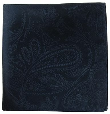 New Men's Polyester Woven pocket square hankie only navy blue paisley wedding