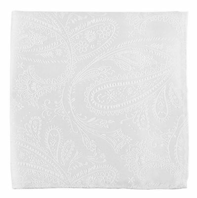 New Men's Polyester Woven pocket square hankie only white paisley prom wedding