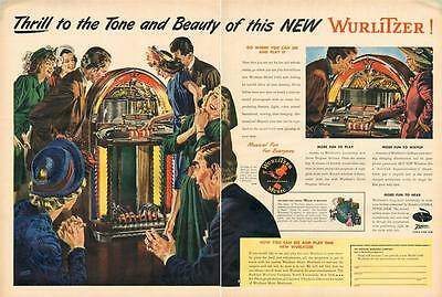 1947 Wurlitzer PRINT AD Panaramic Sky Top Window Phonograph Music