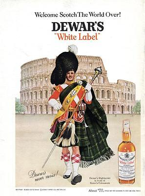 1968 DeWars White Label Scotch Whisky Highland Dress Rome Colosseum PRINT AD