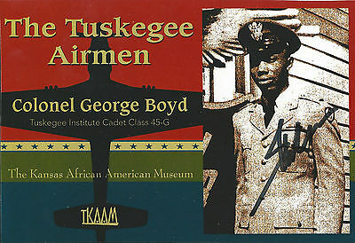 George M. Boyd 3.5x5.5 signed photo Tuskegee Airmen WWII 332nd Fighter Group