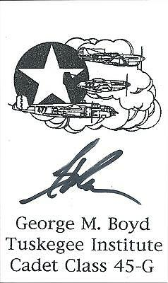 George M. Boyd Card Signed Card Tuskegee Airmen WWII 332nd Fighter Group
