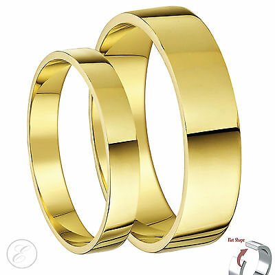 New His & Hers 9ct Yellow Gold Flat Wedding Ring Bands 3&5mm 4&6mm