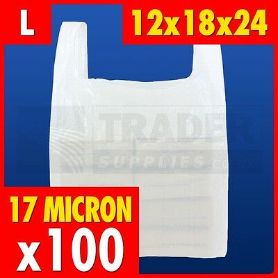 100 x Large White Plastic Vest Carrier Bags Supermarket 12 x 18 x 24in 17 micron