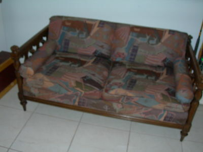 Antique Vintage Black Walnut Couch Settee Sofa 1700's William Mary Gothic Castle