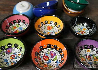 Colourful! Turkish ceramic bowls - 7cm,handmade, hand painted Ottoman designs