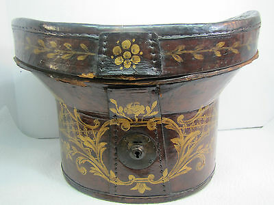 Antique 1800s Folk Art Hand Painted Leather Hat Box 19c flowers ornate artwork