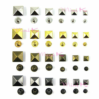 Pyramid Studs Rivet Nailhead Spike Square Leather Craft DIY Rock Punk