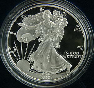 2001 AMERICAN SILVER EAGLE PROOF $1 DOLLAR COIN W/BOX