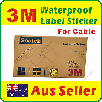 3M 120 Labels Waterproof White Label Sticker for Cable Free Postage Aus Seller