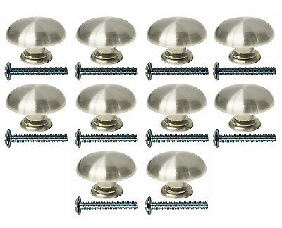 LOT OF 10 JEFFERY ALEXANDER KITCHEN CABINET HARDWARE KNOB MUSHROOM SATIN NICKEL