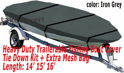 14' - 16' Aluminum Fishing Boat Cover Trailerable Iron Grey Color TC11