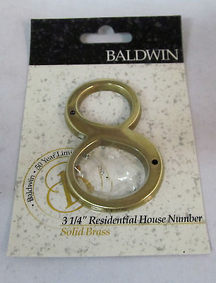 "Baldwin 0648-030-CD 3-1/4"" House Number '8' Missing screws BRASS NEW!!"