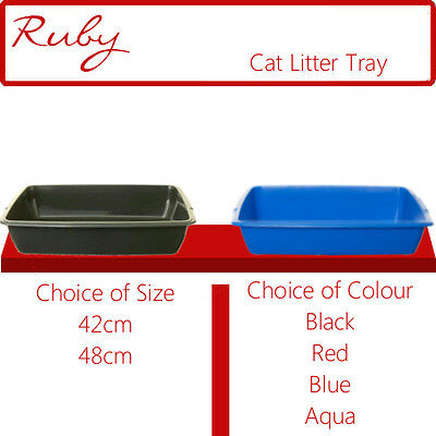 New Whitefurze Plastic Cat Dog Pet Litter Tray Black Red Aqua Blue