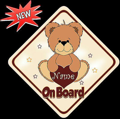 Personalised Beige Brown Bear 2 Child/Baby on Board Car Sign New !