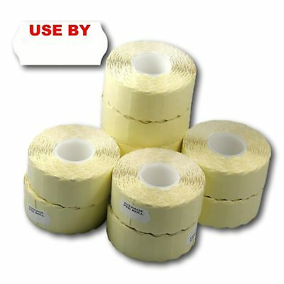 15,000 (10 Rolls) White Permanent Printed Use By CT4 26 x 12mm Price Gun Labels