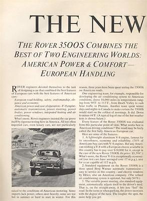 1969 British Leyland Rover PRINT AD 3500S V-8  Two page detailed B&W vintage ad