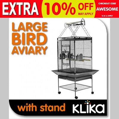 LARGE INDOOR BIRD PARROT WIRE CAGE AVIARY PERCH PORTABLE ON WHEELS,w