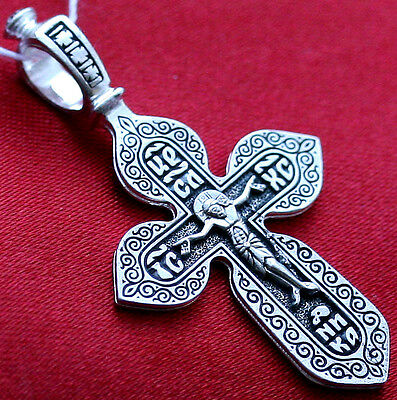 CLASSICAL RUSSIAN ORTHODOX ICON CROSS, SILVER NEW,SAVE AND PROTECT CRUCIFIX !