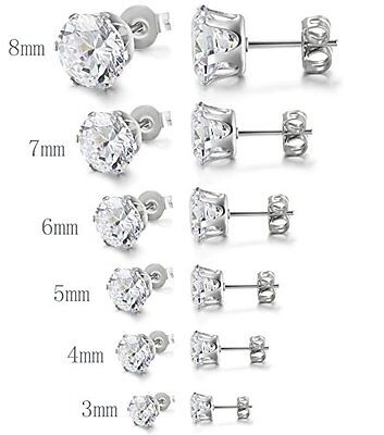 Cubic Zirconia Stud Earrings Stainless Steel 3mm-8mm (Men or Women)