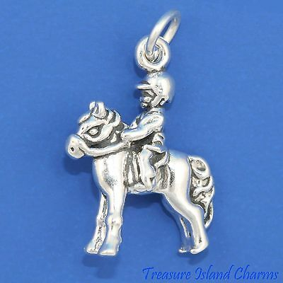 Horse Riding Crop And Jockey Hat 3D .925 Solid Sterling Silver Charm MADE IN USA