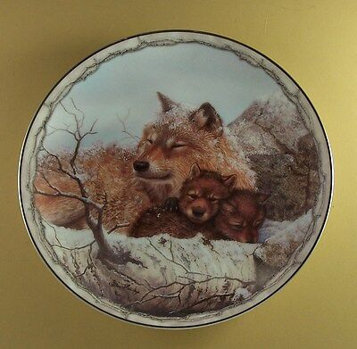 Sheltering Love SAFE AND SOUND Wolf Plate Wolves #5 Bob Henley Bradford Exch COA